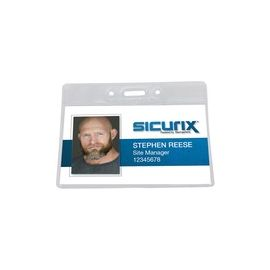 SICURIX Vinyl Punched ID Badge Holders - Horizontal