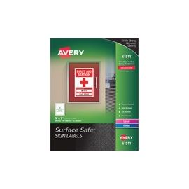 Avery® Surface Safe Sign Labels - Water-Resistant/Chemical-Resistant