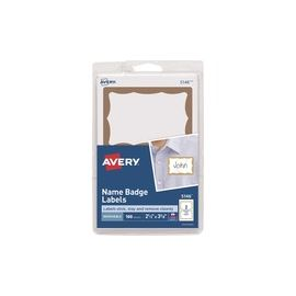 Avery® Name Badge Labels - Gold Border
