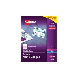 Avery® Premium Personalized Name Tags with Blue Border - Print or Write