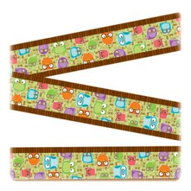 Colorful Owls Design Straight Borders
