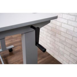 Two- Student Standing Desk with Crank Gray desktop Gray Frame