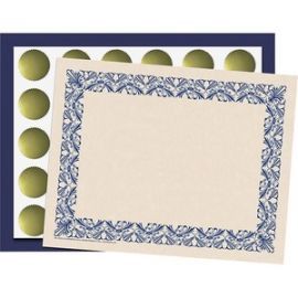 Art Deco Blue Border Certificate Pack