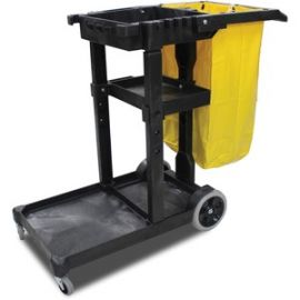Janitor's Cart with 25-Gallon Yellow Vinyl Bag