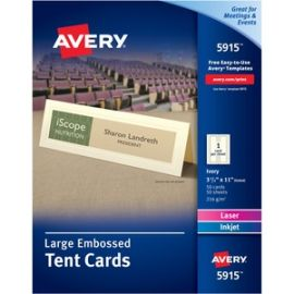 Large Tent Cards - Uncoated - Embossed - 2-sided Printing