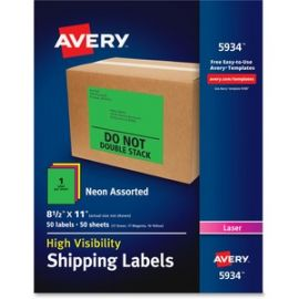 High-Visibility Shipping Labels - Full Sheet