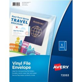 "Vinyl File Envelope, 12-7/8"" x 9-7/8"" , Holds 75 Sheets, Clear (72053)"