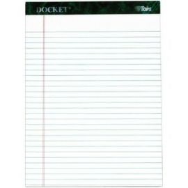Docket Legal Pad, Legal Rule, White, Rigid Back, 50 Sheet/Pad, 6 Pad/Pack