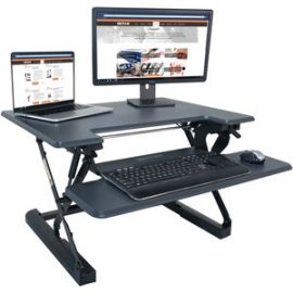 High Rise Height Adjustable Standing Desk with Keyboard Tray