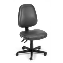 OFM Straton Series Model 119-VAM Armless Swivel Task Chair, Anti-Microbial/Anti-Bacterial Vinyl, Mid Back, Charcoal