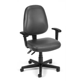 OFM 119-VAM-AA-604 Straton Series Anti-Microbial/Anti-Bacterial Vinyl Task Chair with Arms, Charcoal