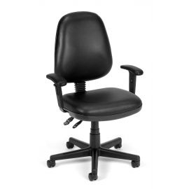 OFM 119-VAM-AA-606 Straton Series Anti-Microbial/Anti-Bacterial Vinyl Task Chair with Arms, Black