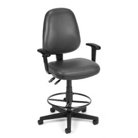 OFM Straton Series Model 119-VAM-AADK Swivel Task Chair with Arms and Drafting Kit, Anti-Microbial Vinyl, Charcoal