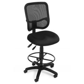 OFM Comfort Series Model 130-DK Ergonomic Mesh Swivel Armless Task Chair with Drafting Kit, Mid Back, Black