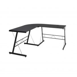 "OFM Essentials Collection 60"" Metal Frame L-Shaped Desk, Corner Computer Desk, in Black (ESS-1021 -BLK-BLK)"