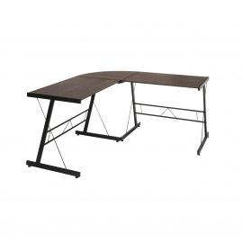 "OFM Essentials Collection 60"" Metal Frame L-Shaped Desk, Corner Computer Desk, in Wenge (ESS-1021 -BLK-WEN)"