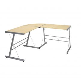 "OFM Essentials Collection 60"" Metal Frame L-Shaped Desk, Corner Computer Desk, in Maple (ESS-1021 -SLV-MPL)"