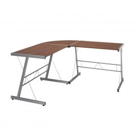 "OFM Essentials Collection 60"" Metal Frame L-Shaped Desk, Corner Computer Desk, in Walnut (ESS-1021 -SLV-WNT)"