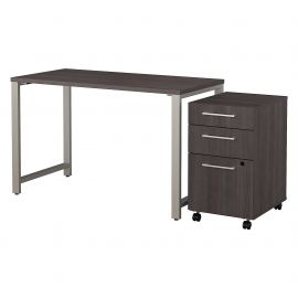 48W x 24D Table Desk with 3 Drawer Mobile File Cabinet