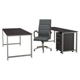 72W x 30D Table Desk with Credenza, Mobile File Cabinet and High Back Office Chair