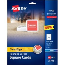 "Square Cards w/Rounded Edges 2.5""x2.5"" , 93 lbs. 180 Inkjet Cards"