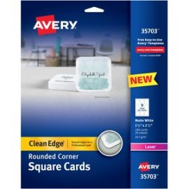 "Square Cards w/Rounded Edges, 2.5""x2.5"" , 90 lbs. 180 Laser Cards"