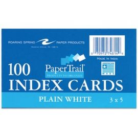 "Index Cards 3""x5"" Plain White"