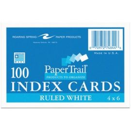 """Index Cards 4""""x6"""" Ruled White"""