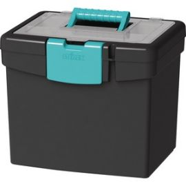 File Storage Box, XL Storage Lid, Black/Teal (2 units/pack)