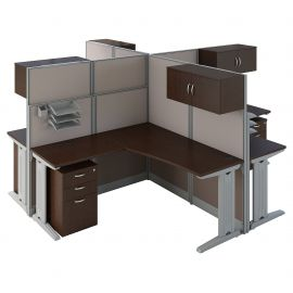Bush Business Furniture Office in an Hour 4 Person L Shaped Cubicle Workstations in Mocha Cherry