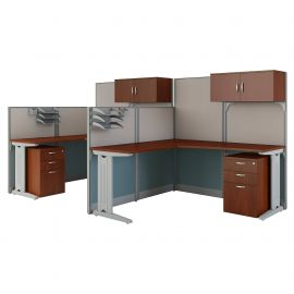 Bush Business Furniture Office in an Hour 2 Person L Shaped Cubicle Workstations in Hansen Cherry