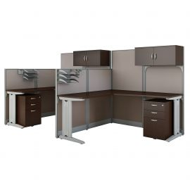 Bush Business Furniture Office in an Hour 2 Person L Shaped Cubicle Workstations in Mocha Cherry