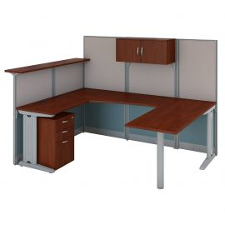 Bush Business Furniture Office in an Hour U Shaped Reception Desk with Storage in Hansen Cherry
