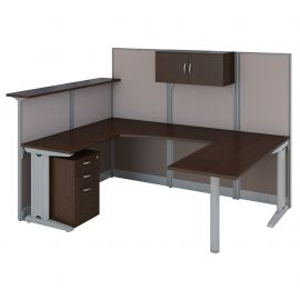 Bush Business Furniture Office in an Hour U Shaped Reception Desk with Storage in Mocha Cherry