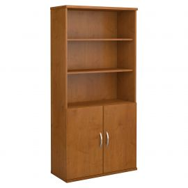 Bush Business Furniture Series C 36W 5 Shelf Bookcase with Doors in Natural Cherry