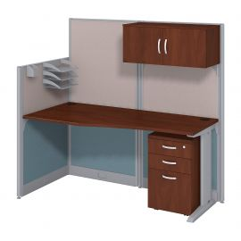 Bush Business Furniture Office in an Hour 65W x 33D Cubicle Workstation with Storage in Hansen Cherry