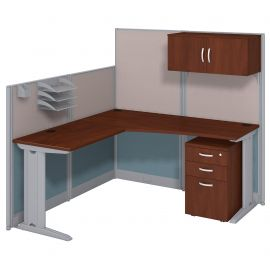 Bush Business Furniture Office in an Hour 65W x 65D L Shaped Cubicle Workstation with Storage in Hansen Cherry