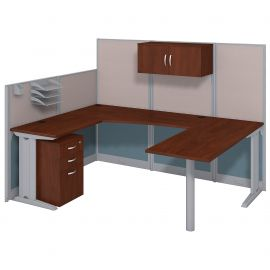 Bush Business Furniture Office in an Hour 89W x 65D U Shaped Cubicle Workstation with Storage in Hansen Cherry