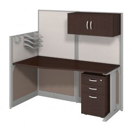 Bush Business Furniture Office in an Hour 65W x 33D Cubicle Workstation with Storage in Mocha Cherry