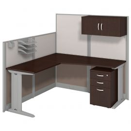 Bush Business Furniture Office in an Hour 65W x 65D L Shaped Cubicle Workstation with Storage in Mocha Cherry