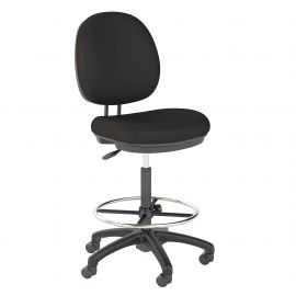 Bush Business Furniture Accord Drafting Stool with Chrome Foot Ring in Black Fabric