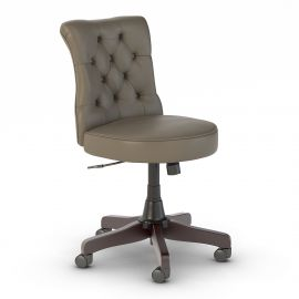 Bush Business Furniture Arden Lane Mid Back Tufted Office Chair in Washed Gray Leather