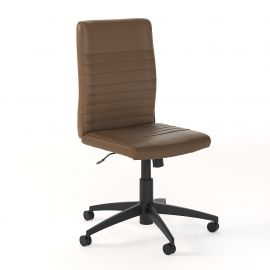 Bush Business Furniture Archive Mid Back Ribbed Leather Office Chair in Saddle Tan