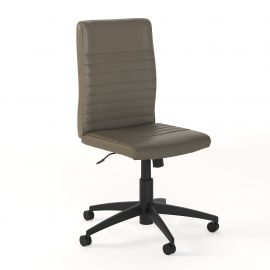 Bush Business Furniture Archive Mid Back Ribbed Leather Office Chair in Washed Gray