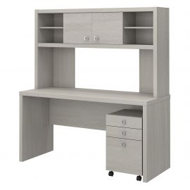 Office by kathy ireland® Echo Credenza Desk with Hutch and Mobile File Cabinet in Gray Sand