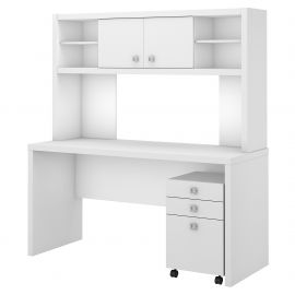 Office by kathy ireland® Echo Credenza Desk with Hutch and Mobile File Cabinet in Pure White