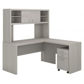 Office by kathy ireland® Echo L Shaped Desk with Hutch and Mobile File Cabinet in Gray Sand