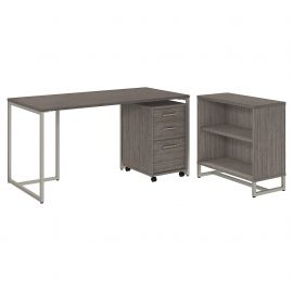 Office by kathy ireland® Method 60W Table Desk with Bookcase and Mobile File Cabinet in Cocoa