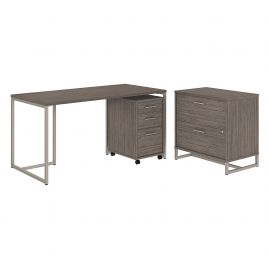 Office by kathy ireland® Method 60W Table Desk with File Cabinets in Cocoa