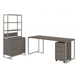Office by kathy ireland® Method 72W Table Desk with File Cabinets and Hutch in Cocoa